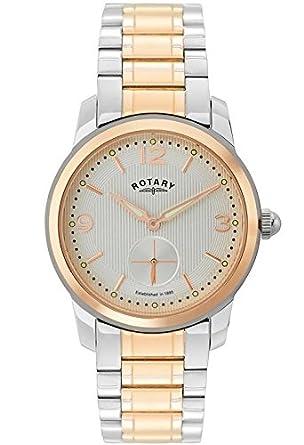 rotary men s quartz watch white dial analogue display and rotary men s quartz watch white dial analogue display and rose gold plated stainless steel bracelet