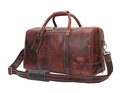 Leather Carry On Bag - Airplane Underseat Travel Duffel Bags By Rustic Town (Mulberry)