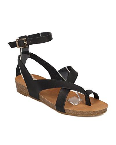Alrisco Vrouwen Kunstleer Strappy Gladiator Sandaal - Comfortabel, Zomer, Strand, Rollator - Gegoten Voetbed Sandaal - Gi56 Door Zwart Kunstleer