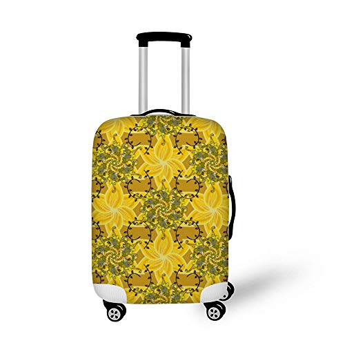 Tropical Flowers and Palm Leaves Fashionable Baggage Suitcase Protector Travel Luggage Cover Anti-Scratch