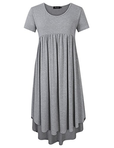 AMZ PLUS Plus Size Scoop Neck Short Sleeve Pleated Tunic Casual Dress for Women Gray XL