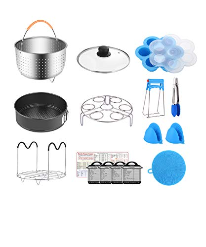 Fopurs 8 Quart Pressure Cookers Accessories Set, Compatible with Instant Pot 8 Qt [6Qt Available], Steamer Basket, Glass Lid, Egg Bites Mold, Springform Pan, 5 Cooking time Magnets and more, 16pcs