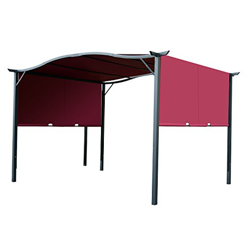 Outsunny 10′ x 12′ Steel Fabric Retractable Pergola Canopy Shade Kit – Wine Red