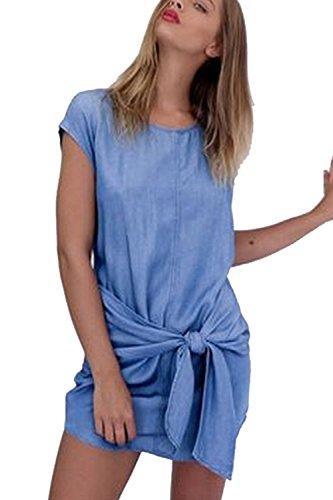 Yacun Mujeres Verano Denim Loose Camiseta Corta Vestido Con Nudo De Corbata Blue