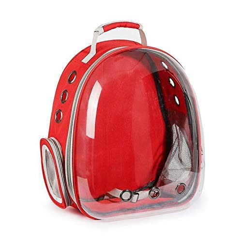 The DDS Store Pet Transparent Cat Carrier Backpack Puppy Kitty Breathable Carriers for Travel (Red)
