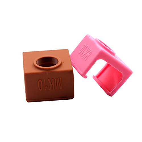 2PCS Silicone Case Cover Sock Shell for MK10 Aluminum Block 3D Printer Part Hot End by Co-link