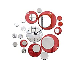 NYKKOLA 3D Clock Mirror Wall Sticker Removable DIY Acrylic 3D Mirror Wall Sticker Decorative Clock,Red and Silver