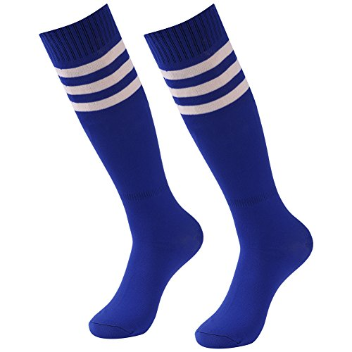 Knee High Soccer Socks, Diwollsam 2 Pairs Classic Dri-fit Basketball Rugby Striped Sports Socks Blue Classic Fit Striped Rugby