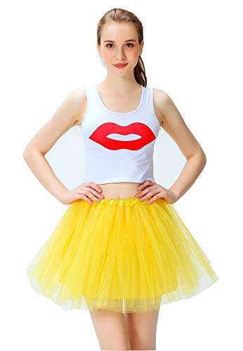Women's Athletic Tutus Elastic 4 Layered Tulle Tutu Skirt | Colorful Running Skirts | One Size Fits Most (Yellow)]()