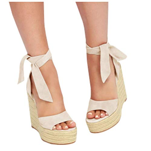 (Mafulus Womens Platform Wedge Sandals Closed Toe Lace Up Ankle Strap Heel Slingback Espadrille Sandals )