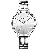 Curren Reloj de Cuarzo de Las Mujeres, Reloj de Pulsera de Cuarzo analógico Ultrafino de Acero Inoxidable, Reloj de Pulsera Casual Simple para Mujer