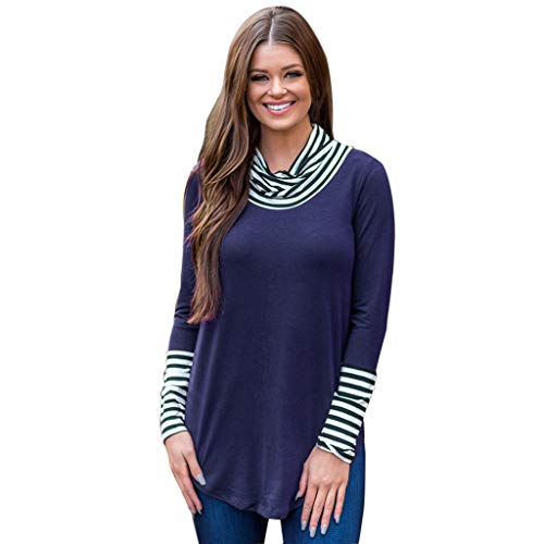 Womens Long Sleeve Sweatshirts Crew Neck Strip Splicing Loose Fit Pullover Loose Tops Sweatshirt