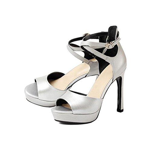 W&LM ms tacones altos sandalias de gama alta plataforma impermeable boca de pez tacones altos hebilla de la palabra sandalias cuero auténtico zapato Silver