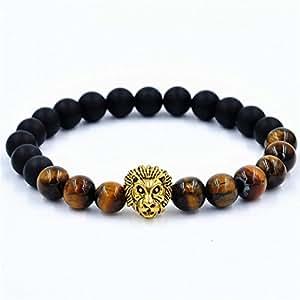 Creazy® mujeres hombres pulsera de León elástico pulsera de perlas de Tíbet suerte Charm pulseras