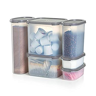 Tupperware Modular Mates Airtight Food Storage Container in Limited Edition Grey - 6 Piece Beverage Center