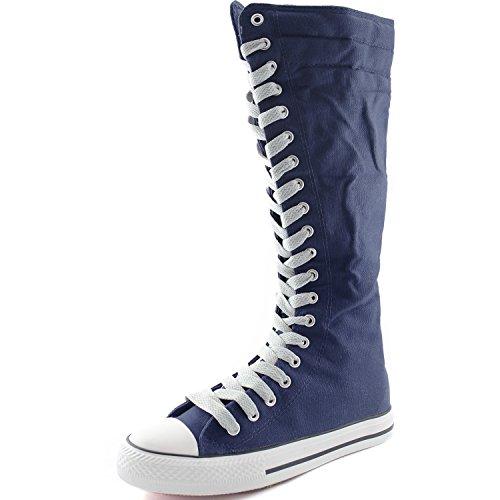 Dailyshoes Tela Donna Stivali Alti Metà Polpaccio Casual Sneaker Punk Flat, Stivali Blu Scuro, Pizzo Grigio Pulito, 8.5 B (m) Us