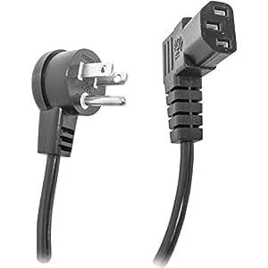 Calrad 55-782RT-RT-6 Right Angle AC Flat Plug to Right Angle Computer IEC Flat Plug, Black (6 Foot)