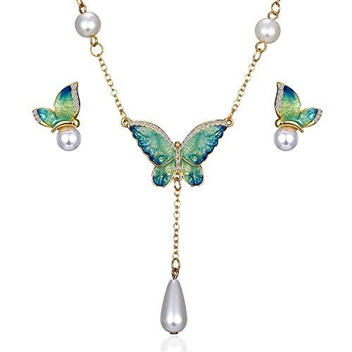 - AILUOR Elegant Enamel Butterfly Jewelry Set, Fashion Charm Gold Plated Crystal Rhinestone Imitation Pearl Water Drop Butterfly Pendant Necklace Stud Earrings for Women Girl (S1)