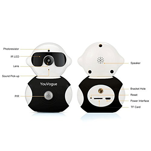 YouVogue Dual-HD 960P Wireless IP Camera and Robot Shape 355° Adjustable Real-time Remote Safety Monitor WiFi Network Baby Surveillance Security--Black