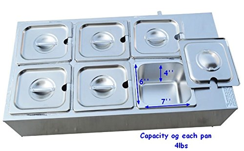 Six Chocolate (Six Pans Dry Well Bain Marie Chocolate Tempering Melter 110V 1000W Automotive Temperature Control)