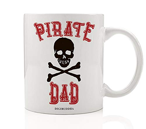 Cute PIRATE DAD Coffee Lover Rum Mug Fun Fathers Day Present Captain Daddy Papa Birthday Gift Idea From Dads Buccaneers Son Daughter Children Kids Crew