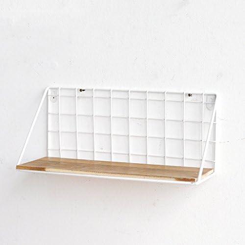 レトロミニマリストクリエイティブウォールスタンド鉄のネットウッドのディスプレイスタンド ( 色 : 白 , サイズ さいず : 35*12*16 cm )