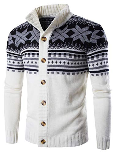 KENANCY Mens Casual Slim Fit Button Front Christmas Knitted Cardigan ()