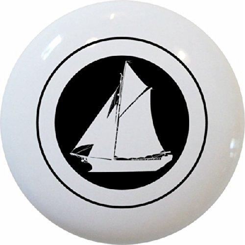 Black & White Sailboat Ceramic Cabinet Drawer Knobs #2 (Set of 3 Knobs) Cabinet Hardware Small Sailboat