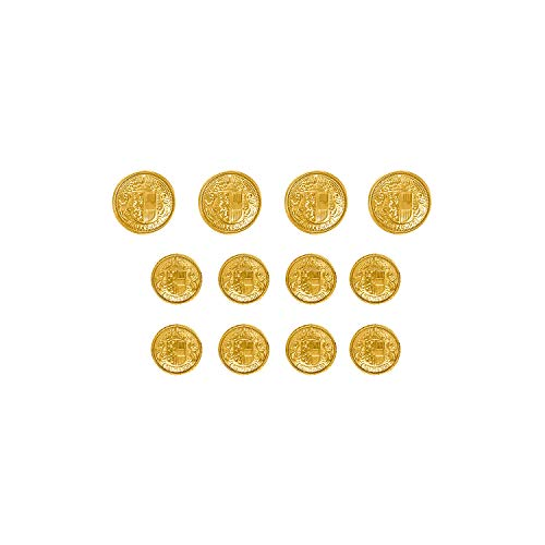 ButtonMode Salzburg Crest Design Metal Blazer Buttons Full Set Includes 4 Jacket Front Buttons x 19mm (3/4 inch), 8 Jacket Sleeve Buttons x 15mm (5/8 inch), Gold Color Metal, 12-Buttons -