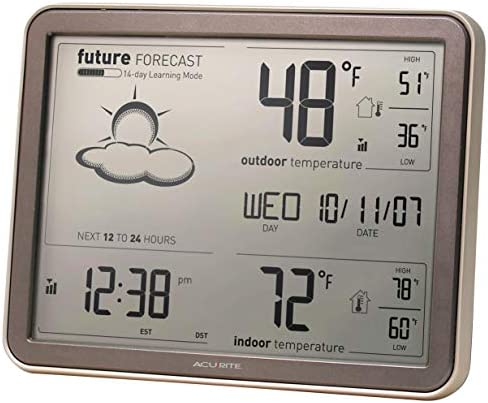 AcuRite 75077A3M Self-Learning Forecast Wireless Weather Station with Large Display and Atomic Clock, Black