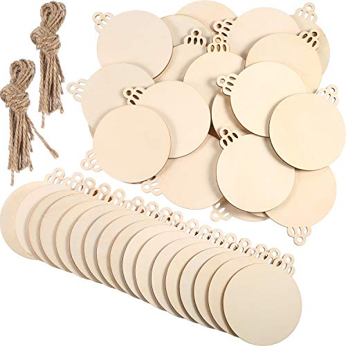 Tatuo 90 Pieces Unfinished Ornaments Christmas Wooden Ornaments Hanging Embellishments Crafts for DIY, Christmas Hanging Decoration (White Ball)