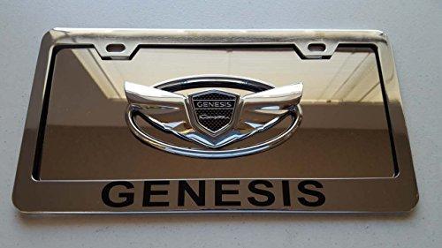 Hyundai Chrome Genesis Coupe on Chrome Steel Front License Plate with Black Genesis Vinyl Cut on Chrome Frame