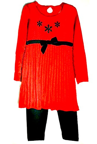 Good Lad Red Pleated Sweater Dress with Velvet Bow and Snowflakes and Leggings (2 years)