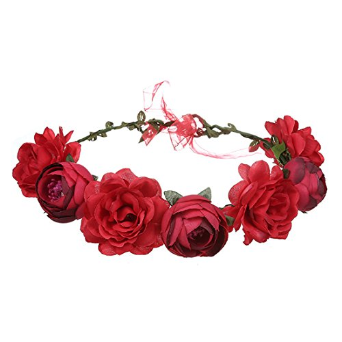 June Bloomy Women Rose Floral Crown Hair Wreath Leave Flower Headband with Adjustable Ribbon (Red)