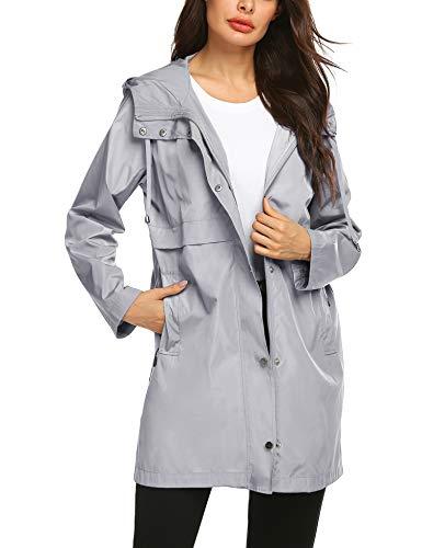 Avoogue Waterproof Raincoat Tween Rainwear Cycling Petite Hiking Outdoor Sport Jacket Grey