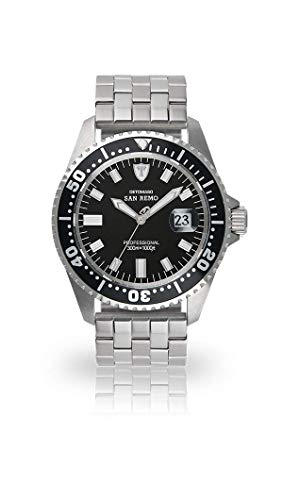 DETOMASO Men's DT1025-A SAN REMO Automatic Divers Watch  Classic schwarz/silber Analog Display Japanese Automatic Silver Watch (Silber Gucci)