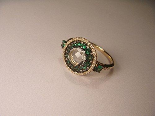 Beautiful 14K Yellow Gold Diamond Prasiolite Tsavorite Ring