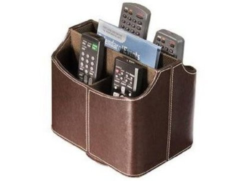 Oalas Media Storage Faux Leather Spinning Remote Control Organizer - Brown (Tv Remote Organizer Brown)