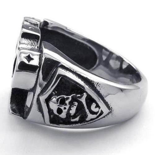 KONOV Mens Stainless Steel Ring, Skull Boxing Glove, Black Silver