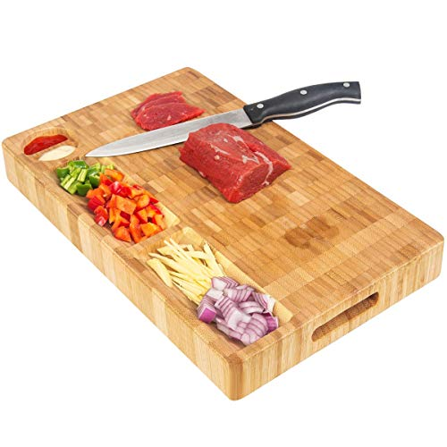 HHXRISE Thick Large Organic Bamboo Cutting Board Cheese Board, With 3 Built-In Compartments&Juice Grooves, Heavy Duty Chopping Board For Meat Bread Fruit(15.8x9.8x1.2'') Butcher Block BPA Free