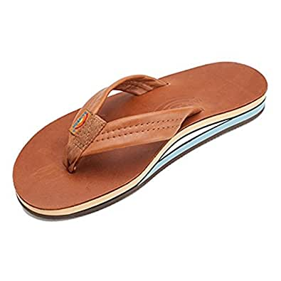 Rainbow Double Layer Classic Leather with Arch Support Men's Sandal Flip Flops Footwear - Classic Tan Blue / Size Medium(8.5-9.5 US)