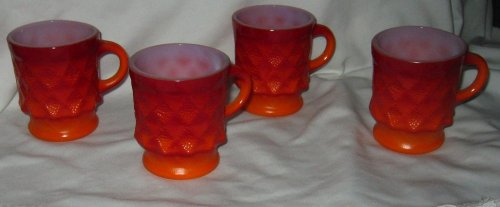 (Vintage SET of 4 Fire King Kimberly Style Orange Coffee Mugs Cups - Great Condition)