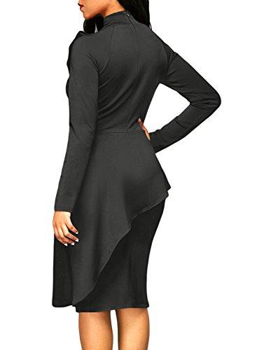 Dokotoo Womens Plus Size Special Occasion Amazon Modest Ladies High Neck Long Sleeve Ruffle Peplum Knee Length Bodycon Midi Pencil Cocktail Dresses Grey Medium