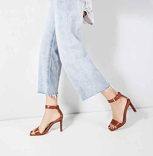 de verano de cuero Zapatos 2018 tacón alto de Sandalias Open Toe tacón de tacón alto Mujer de cuero Marrón Simple de Zapatos tacón de twTFUtq
