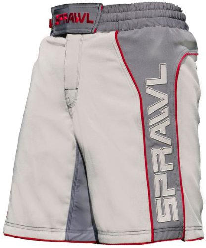 (Sprawl Fusion 2 Stretch Fight Shorts  Grey/Charcoal/Red (28) )