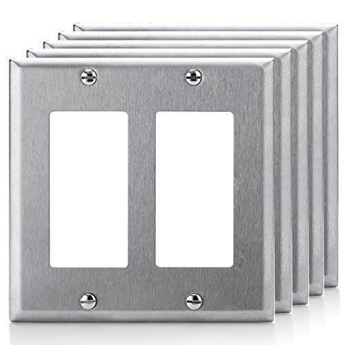 [5 Pack] BESTTEN 2 Gang Decor Metal Wall Plate, Stainless Steel Outlet Cover, Durable Corrosion Resistant Industrial Grade 304SS Material, Silver