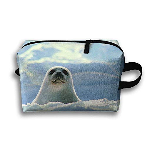 With Wristlet Cosmetic Bags Cute Ice Sea Lions Travel Portable Makeup Bag Zipper Wallet Hangbag