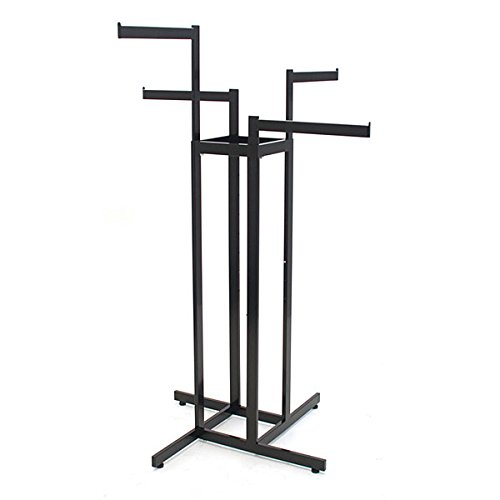 "KC Store Fixtures 28110 4-Way Garment Rack with 4""-16"" Straight Arms, Rectangular Tubing Frame/Arms, Satin Black with Chrome Hanger Strips"