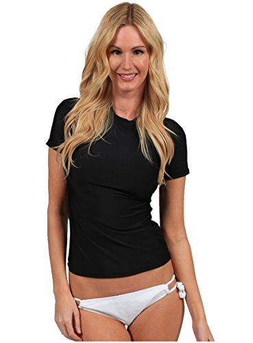 Ingear Ladies Rash Guard Short Sleeve Shirt Swimwear (Medium, Black)