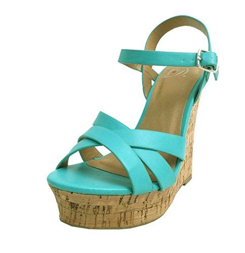 Serum! Läckra Womens Strappy Sladd Kil Sandaler Aqua Läder